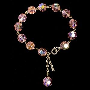 5/$25 Vintage Pink Faceted Glass Crystal Bracelet